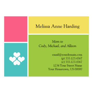 Mommy Info Cards Pink Teal Green Yellow Tropical C Business Card Templates