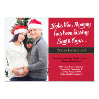 Mommy Kissing Christmas Pregnancy Announcement