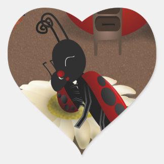 Mommy Ladybug kissing her baby Heart Sticker