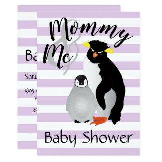 Mommy & Me Gray Penguins Baby Shower Invite