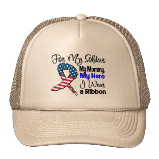 Mommy - My Soldier, My Hero Patriotic Ribbon Trucker Hat