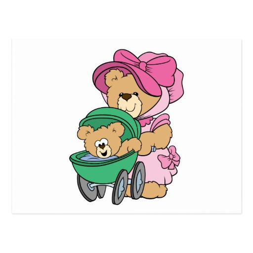 Mommy N Baby Bear in Stroller Postcards