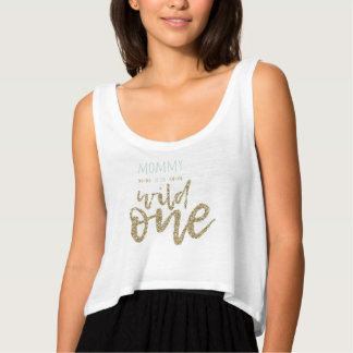 Mommy Of The Wild One Bella+Canvas Flowy Crop Tank