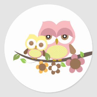 Mommy & owl baby girl sticker