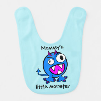 Mommy's Little Monster- Blue Version Bib