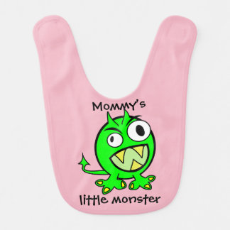 Mommy's Little Monster- Green Version Bib