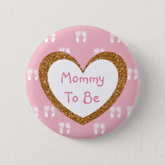 Mommy to be Baby Shower Button Pink Footprints