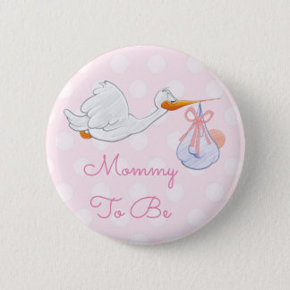 Mommy to be Baby Shower Button Pink Stork