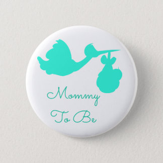 Mommy to be Baby Shower Button Teal Stork