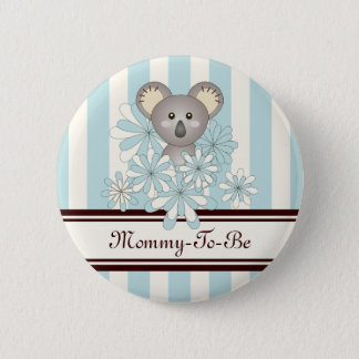 Mommy-to-be Baby Shower Cute Animal Paste Blue 2 Inch Round Button