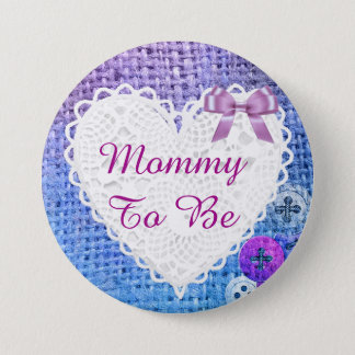 Mommy to be Blue and Purple Bow baby shower Button