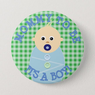Mommy to be blue Baby Boy  Baby Shower Button