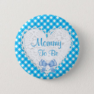 Mommy to be Blue Baby Shower Button