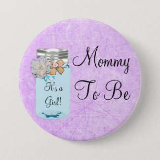 Mommy to be Blue Mason Jar Rustic Shabby Button