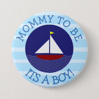 Mommy to be Blue Sailboat Baby Shower Button