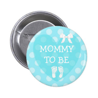 Mommy to be Bow Pastel Blue Baby Shower Button