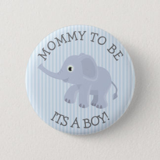 Mommy to be Elephant Blue Striped Baby Shower Pin