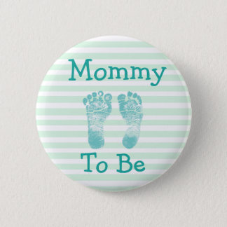 Mommy to be Green & Blue  Bow  baby shower button