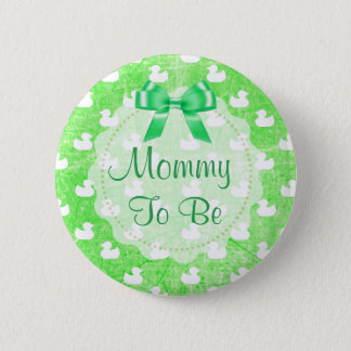 Mommy to be Green Bow and baby Ducks Button