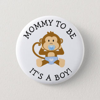 Mommy to be Its a Boy Monkey Baby Shower Button