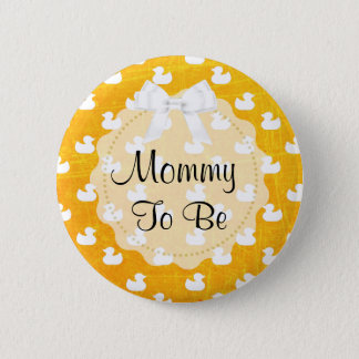 Mommy to be Orange Bow and baby Ducks Button