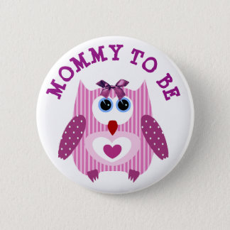 Mommy to be Owl Pink Purple Baby Shower Button