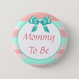 Mommy to be Peach and Teal Bow Baby Shower Button