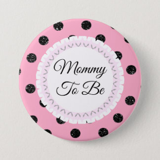 Mommy to be Pink Black Polka Dot Flower Button