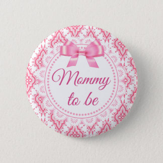 Mommy to be Pink Bow Lacey Baby Shower Button