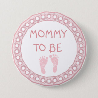 Mommy to be Pink Coral Baby Shower button