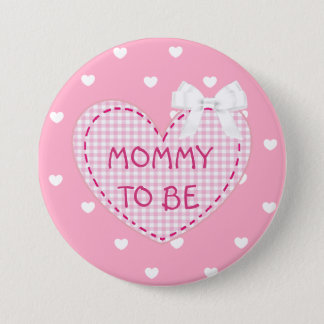 Mommy to be pink hearts Baby Shower Button