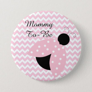 """""""Mommy To Be"""" Pink Ladybug Baby Shower Button"""