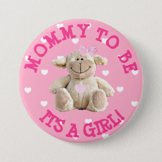 Mommy to be pink Lamb hearts Baby Shower Button