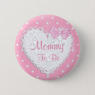 Mommy to be Pink Polka Dot Baby Shower Button