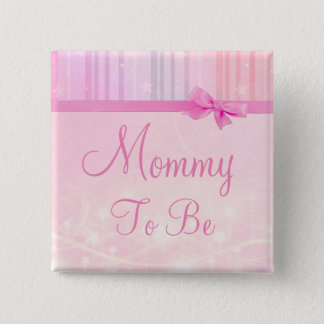 Mommy to be Pink Stars Baby Shower Button