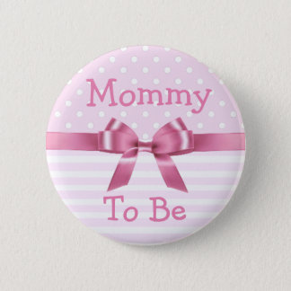 Mommy to be  Pink & White  baby shower button