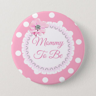 Mommy to be Pink White Polka Dot Flower Button