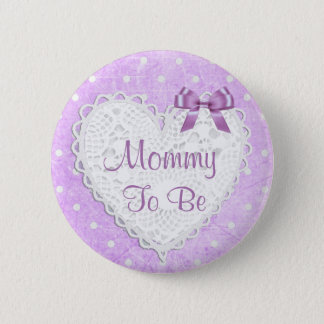 Mommy to be Purple Heart Baby Shower Button