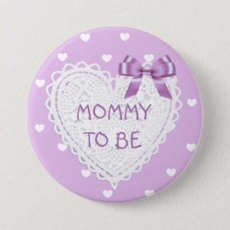 Mommy to be purple hearts Baby Shower Button