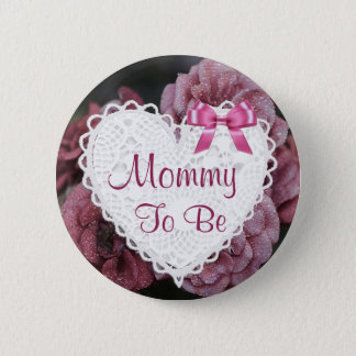 Mommy to be Purple Roses Floral Baby Shower Button