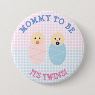Mommy to be to twins boy and girl Button