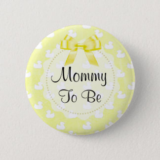 Mommy to be Yellow Bow and baby Ducks Button