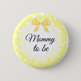 Mommy To Be Yellow Polka Dot Shower Button