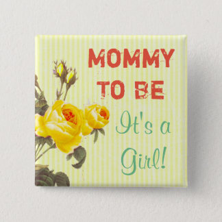 Mommy to be Yellow Roses Baby Shower Button