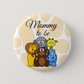 Mommy to be Zoo Animals Baby Shower button