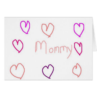 mommy with hearts note card