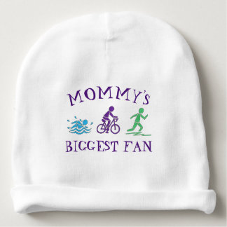 Mommy's Biggest Fan Swim Bike Run Triathlete Race Baby Beanie
