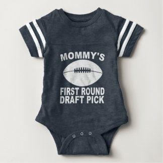 Mommy's First Round Draft Pick Football Baby Bodysuit