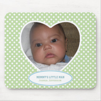 Mommy's Little Man: Green Heart: Picture Mousepad