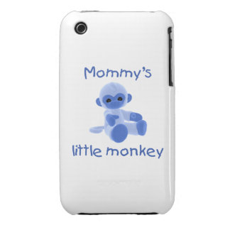 Mommy's Little Monkey (blue) iPhone 3 Case-Mate Cases